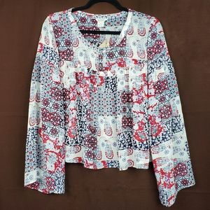 ARIAT Tracey Patchwork Paisley Floral Flowy Top S